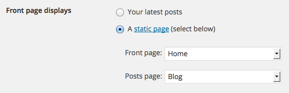 WP static_front_page_setting